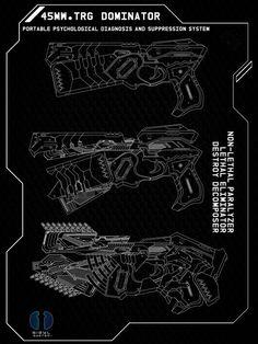 [Psycho Pass] Dominator Spreadsheet by Laitz on DeviantArt Anime Weapons, Fantasy Weapons, Cyberpunk Rpg, Cyberpunk Aesthetic, Warframe Art, Psycho Pass, Image Fun, Weapon Concept Art, Manga Pages