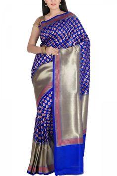 Blue & Pink Meena Butti Zari Banarasi Silk Saree