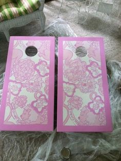 lilly pulitzer cornhole... Cute except i would do it with the Alpha Phi print