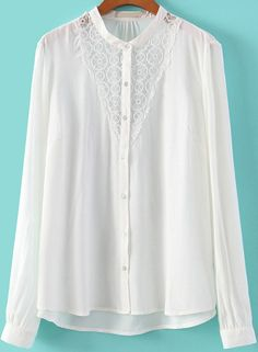 White Long Sleeve Lace Loose Blouse 18.50