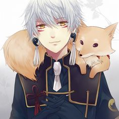 Tags: Anime, Jaerika, Touken Ranbu, Nakigitsune, Magatama, Animal on Shoulder, Fox