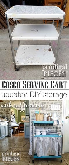 Want to add storage to your home? Get your DIY on and Update a Vintage Cosco Serving Cart for Kitchen, Bath, Laundry, and even Bedroom! Get the step-by-step tutorial at Prodigal Pieces | prodigalpieces.com #prodigalpieces #homedecor #storage
