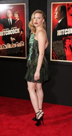 For Hitchcock's NYC premiere, Scarlett Johansson hit the red carpet in a Rodarte minidress and showed off a sultry pout.