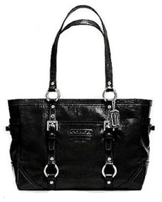 Coach Patent Leather Gallery Bag Purse Tote 10380 Black #purses #handbags