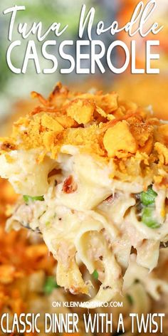 Tuna Noodle Casserole is an easy dinner idea the whole family loves. This super quick casserole recipe is great for potlucks & perfect for busy weeknights. Easy Tuna Recipes, Tuna Casserole Recipes, Quick Pasta Recipes, Noodle Casserole, Dinner Recipes Easy Quick, Vegan Recipes Easy, Casserole Dishes, Pork Recipes, Recipes Dinner