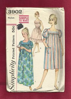 1960s Simplicity 3902 Square Yoke Muumuu with Short Puff Sleeves Size Medium 14/16