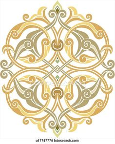 Clipart of Fancy green, tan and yellow Arabesque Design u17747775 - Search Clip Art, Illustration Murals, Drawings and Vector EPS Graphics Images - u17747775.eps