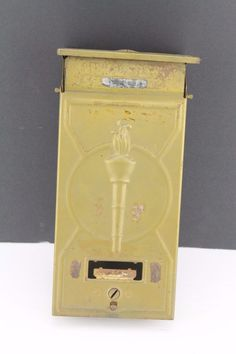 "VINTAGE FULTON IL METAL WALL MOUNT TORCH MAIL BOX AND PAPER HOLDER 14"" X 5"" X 2"""