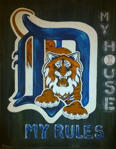 custom made sports paintings-this one for a Detroit Tigers fan! contact Mary 705 718-7114 or visit marymakeskeepsakes.ca Sports Painting, Detroit Tigers, Caricatures, Disney Characters, Fictional Characters, Mary, Paintings, Portrait, Artwork