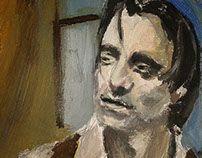 Helin/ Modigliani, oil painting portrait.