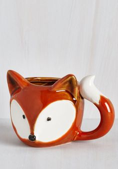 A Real Fox-er Upper Mug. Start your morning on a positively precious note by sipping out of this ceramic fox mug! #orange #modcloth