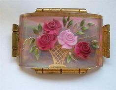 Reverse Carved Lucite Brooch.