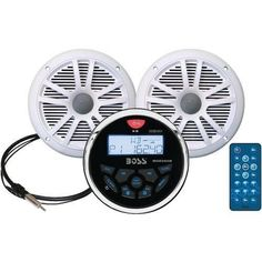Boss Audio Marine-gauge System With In-dash Mechless Am And Fm Receiver, Speakers & Antenna (white Speakers) (pack of 1 Ea)