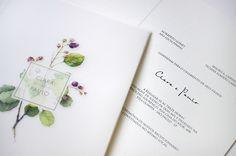 Convite com ilustração botânica - casamento no campo ( Convite: Susana Fujita )