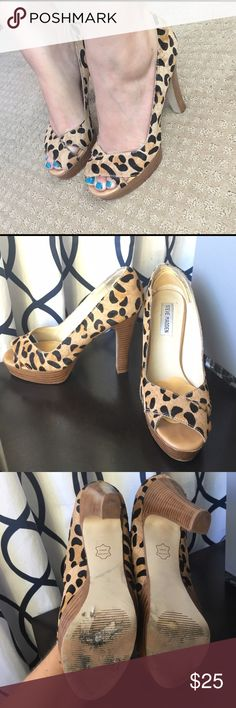Steve Madden glamorl leopard cheetah heels So cute, but have always been too big on me. Has remove able petals on the ball of the foot and heels. Steve Madden Shoes Heels
