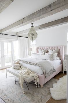 Rustic Bedroom/Pale Pink Bedding/Light Fixtures for the Bedroom/Bedroom Decor/Bedroom Inspiration Farmhouse Bedroom Decor, Home Decor Bedroom, Modern Bedroom, French Bedroom Decor, Feminine Bedroom, Bedroom Rugs, Beds Master Bedroom, Pottery Barn Bedrooms, Apartment Bedrooms