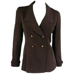 Preowned Vintage 1998 Chanel Size 8 Brown Wool Double Breasted Gold... ($638) ❤ liked on Polyvore featuring outerwear, jackets, brown, vintage jacket, chanel jacket, long jacket, double breasted sports jacket and wool jacket
