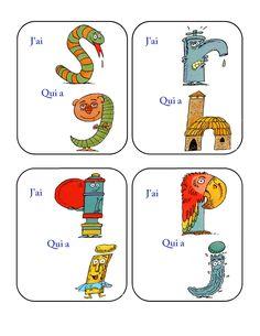 """""""J'ai... qui a?"""" les Alphas7 French Resources, Teacher Resources, Resource Teacher, Montessori, Teaching, Activities, Comics, School, Grande Section"""