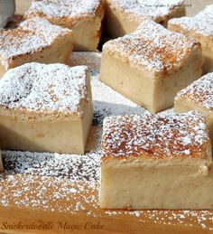 Snickerdoodle Magic Cake-  thin layers of a moist cake on top and bottom and a cinnamon scented rich custard in the middle. http://www.fromcupcakestocaviar.com/2014/09/20/snickerdoodle-magic-cake/
