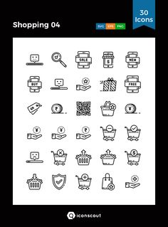 Shopping 04  Icon Pack - 30 Line Icons