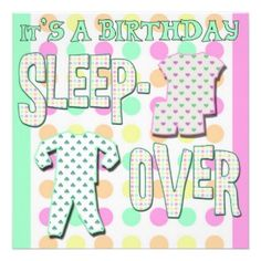 Polka Dot Sleepover Announcement Invitation Cards. Perfect for a child's birthday sleepover. It features a polkadot background in soft pastels suitable for boys or girls with text that reads 'It's a birthday sleepover'. Specify your event and who it honors with details on the back using this customizable template.