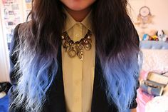 brown with babyblue tips #brownhair #bluehair
