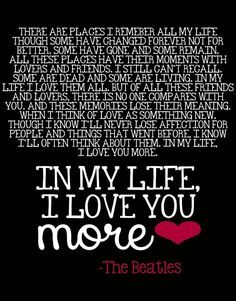 Image result for in my life i love you more the beatles