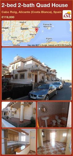 Quad House for Sale in Cabo Roig, Alicante (Costa Blanca), Spain with 2 bedrooms, 2 bathrooms - A Spanish Life Murcia, Alicante, Valencia, Quad, Private Garden, Cabo, Townhouse, Terrace, Bathrooms