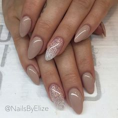 Beautiful nude manicure with glitter accent nails #SoCutex