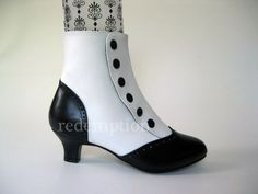"Cute Bordello B/W Vegan 2"" Retro Button Spats Ankle Boots Heels Cosplay 6-12"