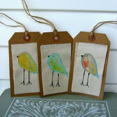 Painted Bird Gift Tags Bird Scrapbook Tag Sewn by tracyBdesigns