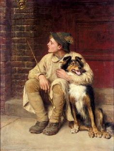 """Rus in Urbe,"" 1890 -- by Briton Riviere (British, 1840–1920) Title is a foreign phrase, with the general meaning here of 'rustics in the city.'"