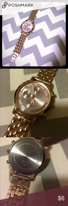 Aeropostale rose gold watch This is a reposh. I got it and it didn't work. I assume it's a dead battery, but can't confirm. The only reason I think it's still sellable is because it's REALLY pretty! Looks to be on very new condition. It's a little big on my very thin wrist. Priced accordingly. Price is firm; I don't accept offers. No trades. Bundle and save! Aeropostale Accessories Watches