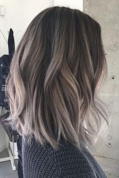 Are you looking for blonde balayage hair color For Fall and Summer? See our collection full of blonde balayage hair color For Fall and Summer and get inspired! Ash Brown Hair Color, Ash Ombre Hair, Ash Brown Ombre, Ash Brown Hair Balayage, Grey Ombre Hair Short, Ash Brown Hair With Highlights, Ashy Hair, Silver Highlights, Lob Ombre