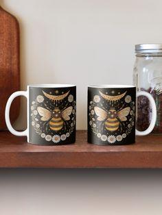 """Honey moon"" Mug by Laorel | Redbubble Buy Honey, Moon, Holiday Decor, Tableware, Winter, Shirt, The Moon, Winter Time, Dinnerware"