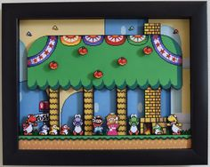 A happy and colorful scene of the whole gang from Super Mario World
