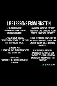 Take these life lessons from Albert Einstein in mind. Quotable Quotes, Wisdom Quotes, Quotes To Live By, Motivational Quotes, Inspirational Quotes, E Mc2, Albert Einstein Quotes, Good Advice, Great Quotes