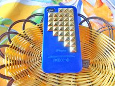 Fashion golden pyramid stud blue Hard Case by jewelrybraceletcuff, $12.99