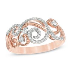 1/4 CT. T.W. Diamond Scroll Ring in 10K Rose Gold - View All Rings - Zales
