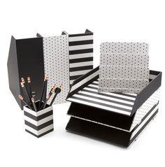 Stylish Office Organization Like The Black White Theme
