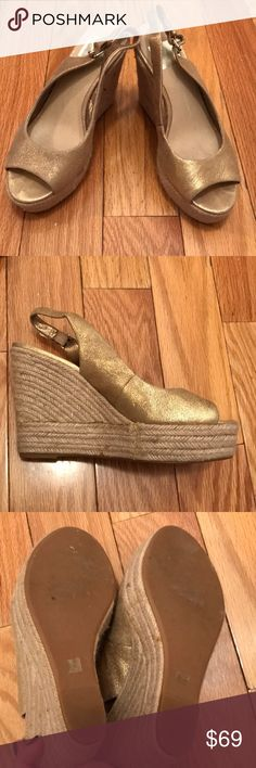 Dolce Vita Gold wedges 4 inches platform wedge  - very cute and only worn one time. Perfect condition Dolce Vita Shoes Wedges