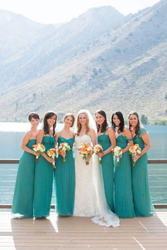 I like the idea of getting married on a boat.... perfect with blue dresses.  On another note: if my dress is long, their dresses should be long, and if my dress is short, theirs should be too.