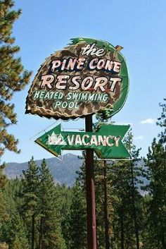 The Pine Cone Resort neon sign in Lake Tahoe, Nevada. For those who don't want to stay in a cabin. Cool Neon Signs, Vintage Neon Signs, Vintage Decor, Roadside Signs, Roadside Attractions, Advertising Signs, Vintage Advertisements, Retro Advertising, Old Signs