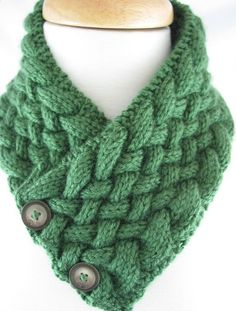 Handknit Caron Simply Soft Green NeckWarmer Basket Weave with Vintage  | jazzitupwithdesignsbynancy - Knitting on ArtFire #afpounce