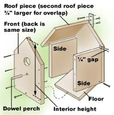 How to build a birdhouse with dimensions for different birdsd