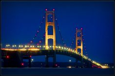 Sundown on Mackinaw Bridge, Mackinaw City, Michigan