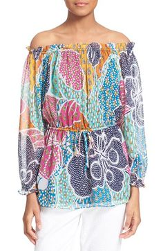 DIANE VON FURSTENBERG 'Camila' Print Off The Shoulder Silk Top. #dianevonfurstenberg #cloth #