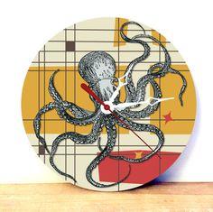 Find JDzigner at http://www.jdzigner.com !!!  Octopus Art Clock - Retro Wall Clock - Wood Wall Clock - Vintage Wall Clock - Home Decor Wall Art - Digital Art Analog Clock - pinned by pin4etsy.com