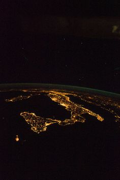 Italy at Night (NASA, International Space Station, 08/18/12)   #TuscanyAgriturismoGiratola