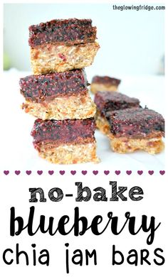 No-Bake Blueberry Chia Jam Bars - vegan and gluten free - chewy, sweet and packed with nourishing fiber, plant protein, iron and calcium. Perfect light breakfast or healthy snack. From The Glowing Fridge.